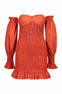 Womens Woven Shirred Cup Detail Bardot Mini Dress - orange - 14, Orange