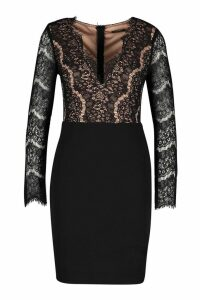 Womens Eyelash Lace Bodycon Dress - black - M, Black