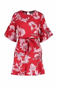 Womens Belted Frill Sleeve Skater Dress - red - 12, Red