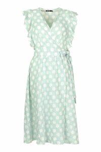 Womens Plunge Front Ruffle Sleeve Polka Dot Midi Dress - green - 16, Green