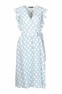 Womens Plunge Front Ruffle Sleeve Polka Dot Midi Dress - blue - 10, Blue