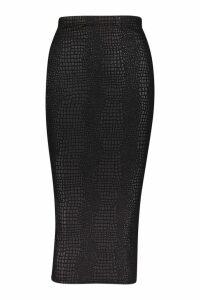 Womens Croc Embossed Midi Skirt - black - 10, Black