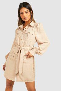 Womens Utility Pocket Detail Shirt Dress - cream - 16, Cream