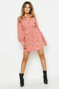Womens Utility Pocket Detail Shirt Dress - pink - 16, Pink