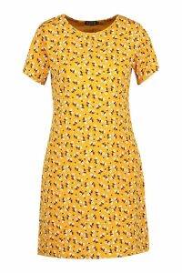 Womens Floral Jersey Crew Neck Shift Dress - yellow - 16, Yellow
