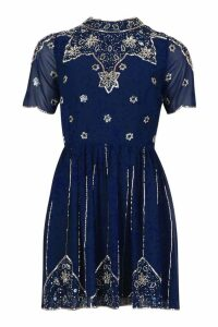 Womens High Neck Embellished Midi Dress - navy - 14, Navy
