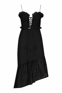 Womens Broderie Lace Up Bralet & Asymetric Midi Skirt - black - 14, Black