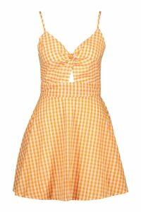 Womens Strappy Gingham Bow Back Skater Dress - orange - 14, Orange