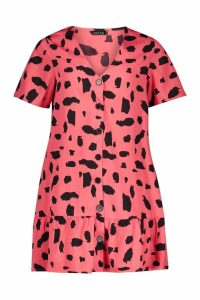 Womens Coral Dalmation Print Button Front Smock Dress - orange - 8, Orange