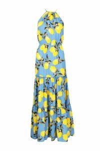 Womens Woven Tie Neck Backless Tiered Maxi Dress - cornflower blue - 16, Cornflower Blue