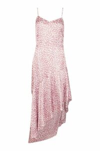 Womens Ruffle Hem Printed Satin Midaxi Slip Dress - pink - 16, Pink