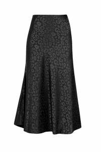 Womens Leopard Print Satin Bias Cut Slip Midi Skirt - black - S, Black