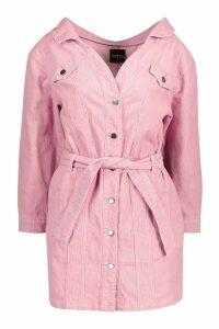 Womens Cord Off The Shoulder Belted Denim Shirt Dress - pink - 16, Pink