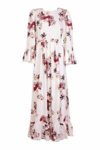 Womens Ruffle Hem and Sleeve Maxi Dress - white - 14, White