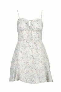 Womens Woven Cupped Strappy Ruffle Floral Dress - green - 6, Green