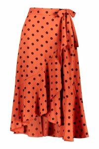 Womens Polka Dot Ruffle Midi Skirt - orange - 8, Orange