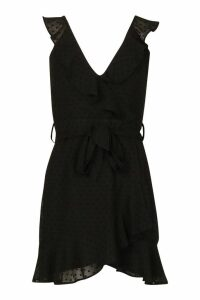 Womens Dobby Chiffon Wrap Skater Dress - black - 10, Black