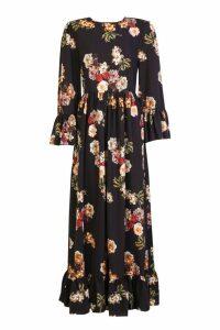 Womens Ruffle Hem and Sleeve Maxi Dress - black - 12, Black