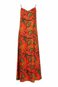 Womens Woven Bright Palm Maxi Dress With Printed Head Scarf - orange - 16, Orange