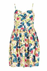 Womens Tropical Floral Sweetheart Skater Dress - pink - 12, Pink