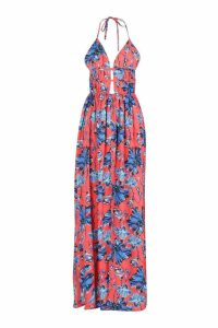 Womens Plunge Front Floral Print Maxi Dress - red - 14, Red