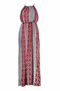 Womens Paisley Print High Neck Maxi Dress - red - 14, Red
