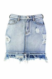 Womens Distressed Raw Edge Denim Mini Skirt - Blue - 16, Blue