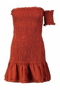 Womens Woven One Sleeve Shirred Mini Dress - orange - 12, Orange