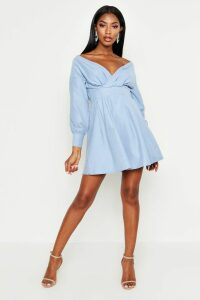 Womens Off The Shoulder Wrap Front Skater Dress - blue - 8, Blue