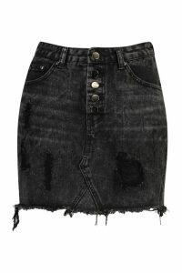 Womens Exposed Button Distressed Denim Skirt - black - 12, Black