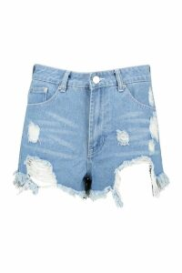 Womens High Rise Distressed Denim Mom Shorts - blue - 10, Blue