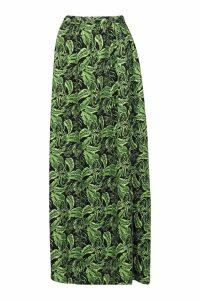 Womens Palm Print Side Split Maxi Skirt - green - 12, Green