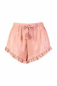 Womens Tassle Tie Ruffle Hem Satin Shorts - orange - 6, Orange