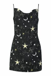 Womens Cosmic Print Cowl Neck Slip Dress - black - 6, Black