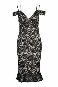 Womens Lace Cold Shoulder Ruffle Hem Midi Dress - black - 16, Black