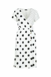 Womens Mixed Polka Dot Button Front Midi Dress - white - 10, White