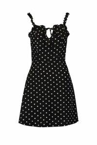 Womens Ruffle Polka Dot Slip Dress - black - 12, Black