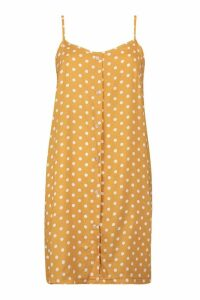 Womens Polka Dot Button Through Cami Mini Dress - yellow - 12, Yellow