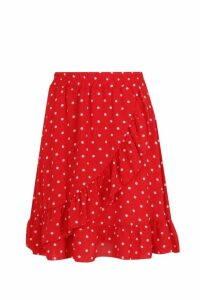 Womens Woven Polka Dot Ruffle Mini Skirt - red - 14, Red