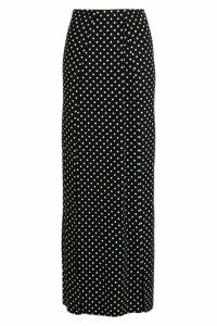 Womens Polka Dot Print Thigh Split Maxi Skirt - black - 10, Black