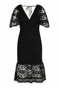 Womens Lace Cape Sleeve Frill Hem Midi Dress - black - 8, Black