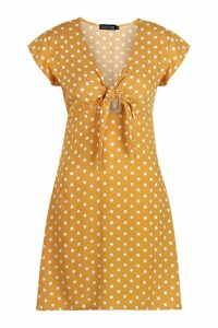 Womens Woven Polka Dot Tie Detail Shift Dress - yellow - 8, Yellow
