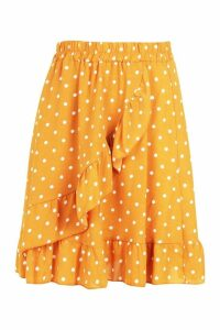 Womens Woven Polka Dot Ruffle Mini Skirt - yellow - 12, Yellow