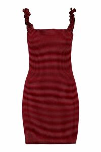 Womens Check Ruffle Strap Square Neck Bodycon Dress - red - 14, Red