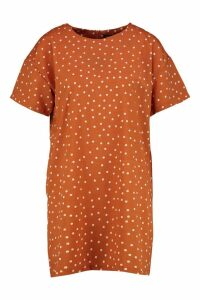 Womens Mini Polka Dot Short Sleeved Shift Dress - orange - 8, Orange