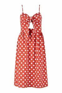 Womens Knot Front Polka Dot Midi Dress - orange - 12, Orange