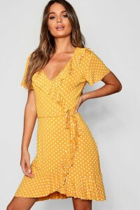 Womens Polka Dot Wrap Front Ruffle Tea Dress - yellow - 16, Yellow