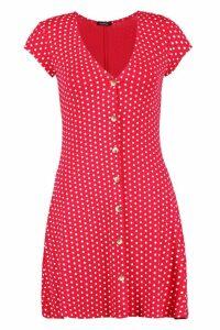 Womens Cap Sleeve Button Through Shift Dress - red - 16, Red