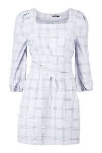 Womens Rouched Sleeve Tie Waist Checked Shift Dress - grey - 14, Grey