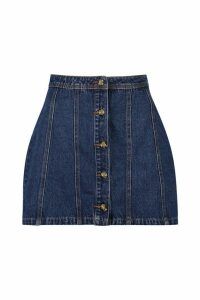 Womens Mock Horn Button Through Denim Mini Skirt - blue - 10, Blue